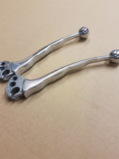 POLISHED HANDLEBAR LEVERS BALL END  (POLISHED WITH FINGER GRIPS )  Ser 3